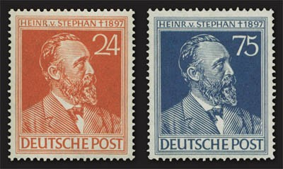 All.Bes.GA MiNr. 963/64 ** 50. Tdtg. Heinrich von Stephan