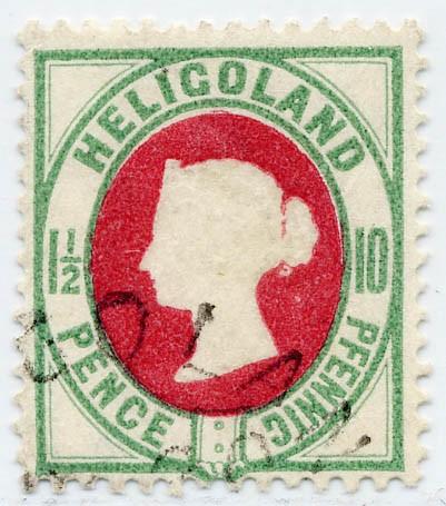 Helgoland MiNr. 14e o 10Pf/1 1/2 P bläul.grün/karmin