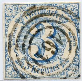 Thurn & Taxis MiNr. 21 o 3 Kr., blau, geschnitten