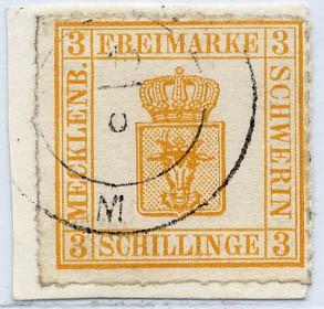 Mecklenb.-Schwerin MiNr. 7I o 3 Schilling gelblichorange