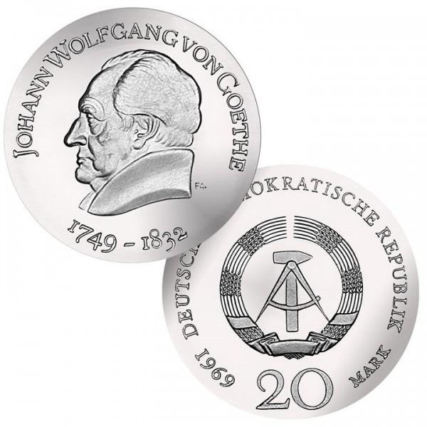 DDR Münze 1969, 20 M, st 220. Geburtstag J. W.von Goethe