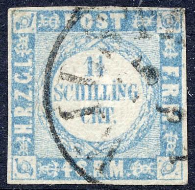 Schleswig-Holstein MiNr. 5I o 1 1/4 Schilling - grauultramarin