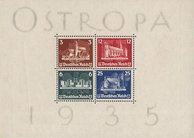 Dt. Reich Bl. 3 MiNr. 576/79 (*) Briefmarken-Ausstellung OSTROPA