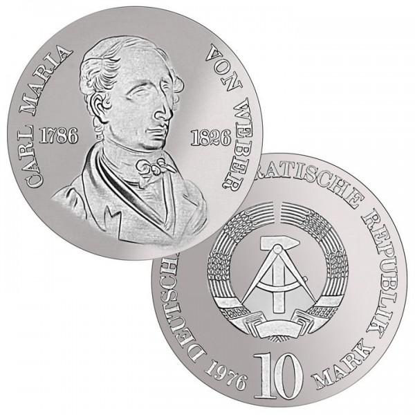 DDR Münze 1976, 10 M, st 150. Todestag Carl M. von Weber