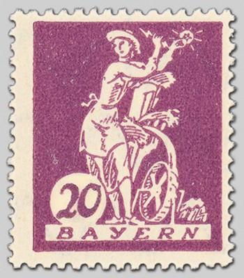 Bayern MiNr. 181 II ** 1 Wert Abart 20Pf Type II