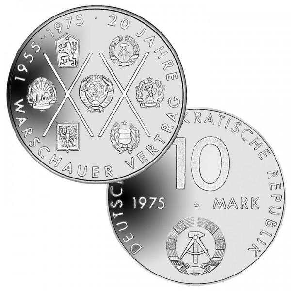 DDR Münze 1975, 10 M, vz 20 Jahre Warschauer Vertrag