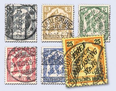 Dt. Reich Dienst MiNr. 9/14 o Zähldienstmarken für Baden