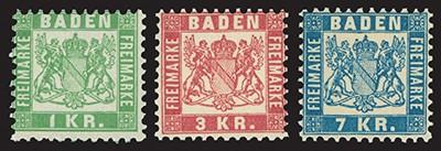 Baden MiNr. 23/25 ** FM Wappen von Baden