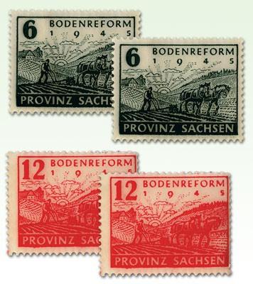 SBZ Prov.Sa. MiNr. 90/91 Y/Z ** Bodenreform, Wasserzeichen Y + Z