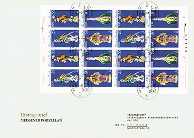 DDR FDC MiNr. 2468/71 (Klbg. Einzelstück) Meißner Porzellan (I)