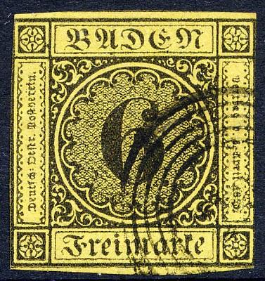 Baden MiNr. 7 o 6 Kreuzer / gelb / Ziffer im Kreis