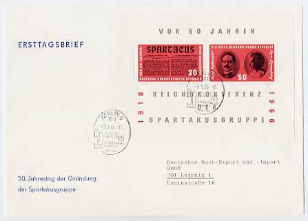 DDR FDC Bl.25 MiNr. 1154/55 50 Jahrestag der Spartakusgruppe