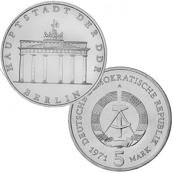 DDR Münze 1971, 5 M, st Brandenburger Tor (Kursmünze)