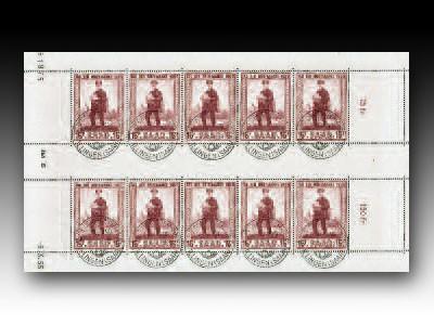 Saarland Kleinbogen MiNr. 361 o Tag der Briefmarke 1955