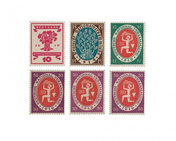 Dt. Reich MiNr. 107/10 + 110a, b, c ** a+b gepr. Nationalversammlung Weimar (6 Werte)