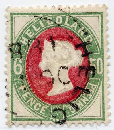 Helgoland MiNr. 16a o 50Pf/6P grün/dkl.lilakarmin