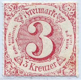Thurn & Taxis MiNr. 42 * 3 Kr., karminlilarot, durchstochen