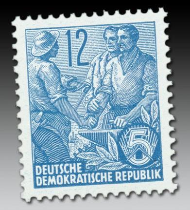 """DDR MiNr. 410x YI ** 12 Pf. """"Bauer/Handwerker"""" Fünfjahrplan II mit Wz. 2YI"""