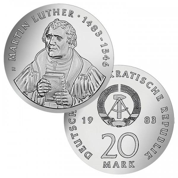 DDR Münze 1983, 20 M, st 500. Geburtstag Martin Luther