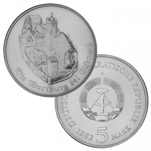 DDR Münze 1982, 5 M, PP Wartburg bei Eisenach