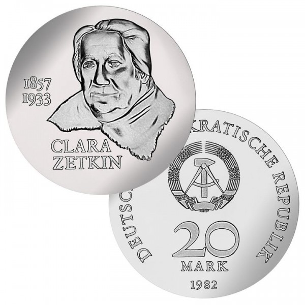 DDR Münze 1982, 20 M, PP 125. Geburtstag Clara Zetkin