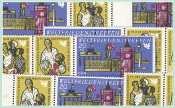 DDR Zdr.-Kombinat. MiNr. 1478/80 ** Weltfriedenstreffen (WZd 204 - 209)