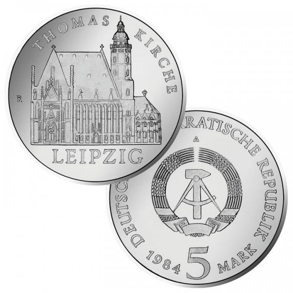 DDR Münze 1984, 5 M, PP Thomaskirche Leipzig