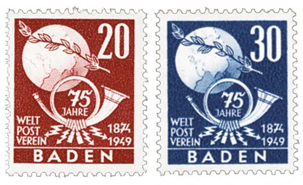 Franz.Zone Baden MiNr. 56/57 ** 75 Jahre Weltpostverein