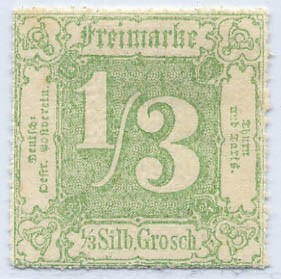 Thurn & Taxis MiNr. 36 * 1/3 Gr., dunkelgelbgrün, durchstochen