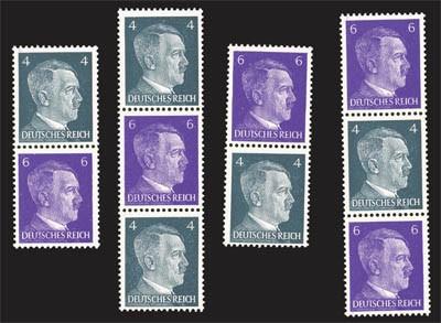 Dt. Reich ** 4 Hitler-Zusammendrucke (S290-S293)