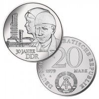 DDR Münze 1979, 20 M, st 30 Jahre DDR