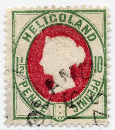 Helgoland MiNr. 14a o 10Pf/1 1/2 P dkl.grün/dkl.lilakarmin