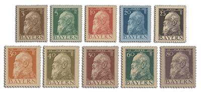Bayern MiNr. 76-85 Kurzsatz ** Prinzregend Luitpold, Pfennigwerte, 10 Werte