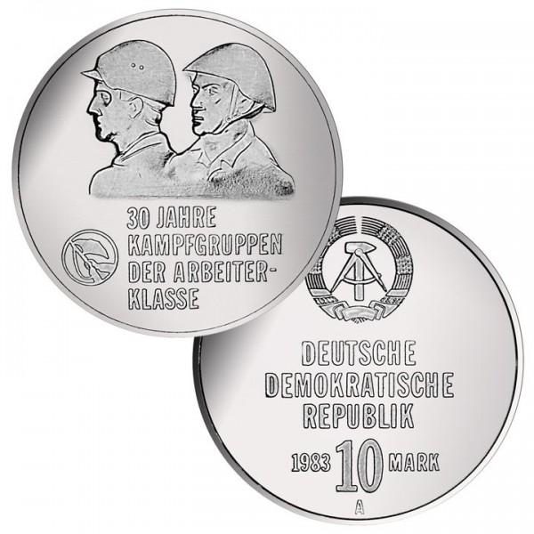 DDR Münze 1983, 10 M, st 30 Jahre Kampfgruppen