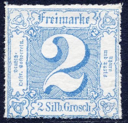 Thurn & Taxis MiNr. 39 ** 2 Gr., blau, durchstochen