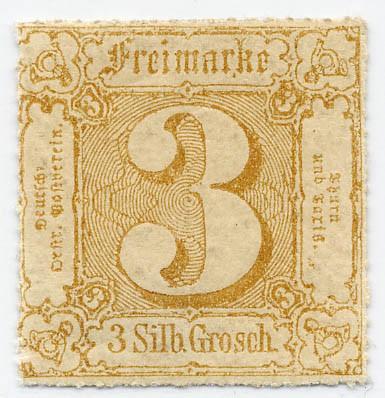 Thurn & Taxis MiNr. 40 * 3 Gr., braunocker, durchstochen