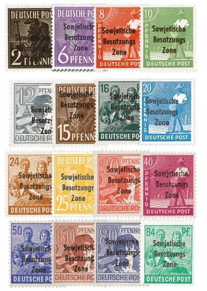 SBZ Allg.A. MiNr. 182-97 ** Arbeiterserie mit Aufdruck
