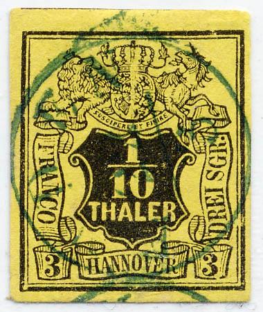 Hannover MiNr. 5 o 1/10 Thaler- 3 Sgr. / gelb