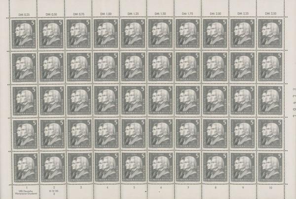 DDR Bogensatz MiNr. 857/60 ** Franz Liszt, inkl. Sammelblätter