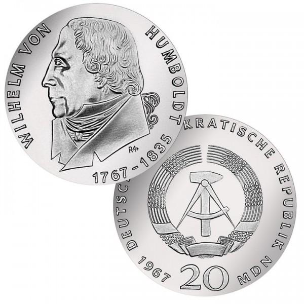 DDR Münze 1967, 20 M, st 200. Geburtstag W. von Humboldt