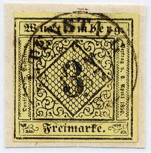 Württemberg MiNr. 2a o 3 Kreuzer, hellgelb