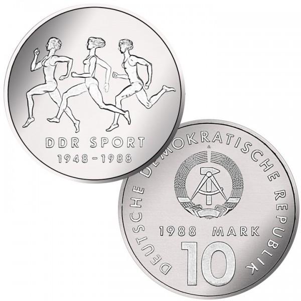 DDR Münze 1988, 10 M, st 40 Jahre Turn- und Sportbund