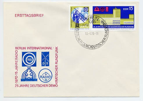 DDR FDC MiNr. 1573/74 Zdr. 25 J. Rundfunk in d. DDR