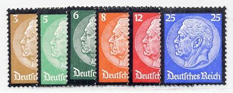 Dt. Reich MiNr. 548/53 ** Tod von Hindenburg