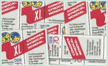DDR Zdr.-Kombinat. MiNr. 3049 ** Weltgewerkschaftsbund (WZd 688-691,SZd 322-325)