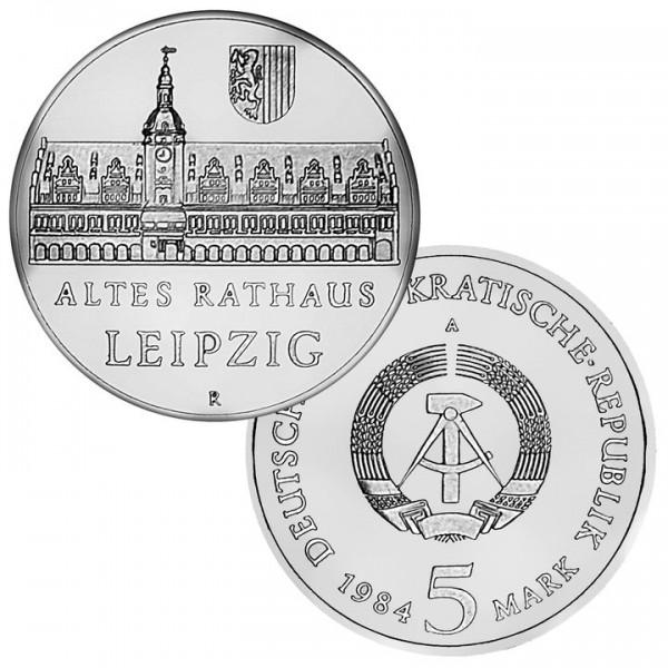 DDR Münze 1984, 5 M, st Altes Rathaus Leipzig