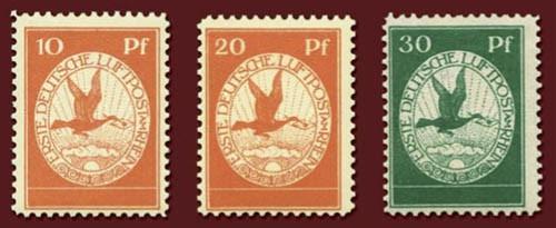Dt. Reich Flugpostmarken MiNr. I - III ungebraucht Flugpost am Rhein und Main, 1912