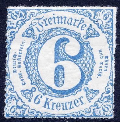 Thurn & Taxis MiNr. 43IA ** 6 Kr., blau, durchstochen