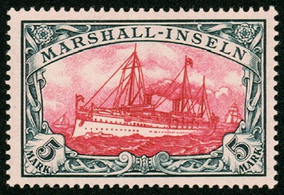 Dt. Kolonien Marshall-Inseln MiNr. 27 BI ** 5 M große Kaiseryacht m. Wz.