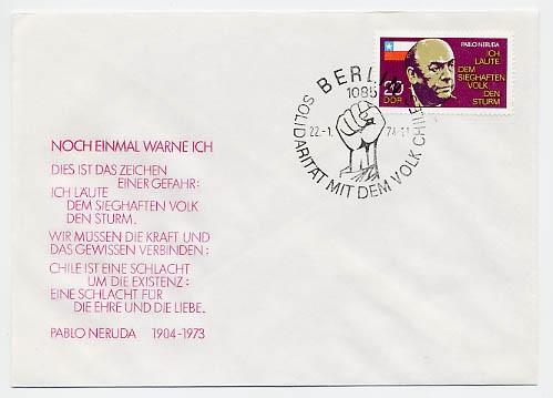 DDR FDC MiNr. 1921 1. Tdtg. Nerudas